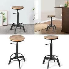 Industrial Swivel Wooden Seat Height Adjustable Bar Stool