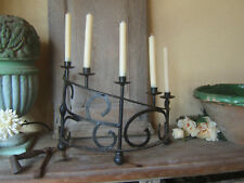 RARE PAIR ANTIQUE FRENCH WROUGHT IRON HAND FORGED GOTHIC MEDIEVAL CANDELABRA