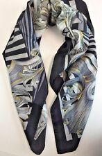 NWT VERSACE Printed Large Square 100% Silk Scarf  Italy Gold Black White