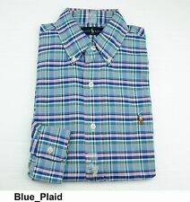 Polo Ralph Lauren MENS LONG SLEEVE OXFORD PLAID Standard Fit Sport Shirt