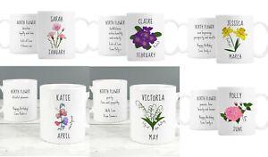 Personalised Birth Flower January - June  Mug Choose Month