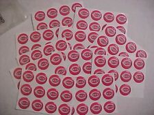 """Cincinnati REDS LOT of 120 round THICK STICKERS new/old stock  1"""" diameter"""