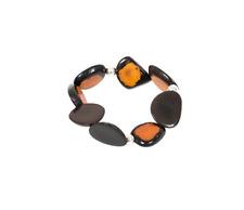 Isachii Women's Valentina Tagua Nuts Bracelet Designer Beaded Orange RRP £135