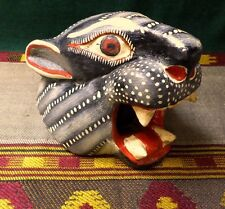 Mexican Nahua Folk Art Guerrero Carved Wood Hand Painted Jaguar Head