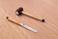 1/12 dolls house miniature Handmade Wood Mallet / Hammer & Chisel Tools set LGW