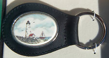 Key Ring Leather Barlow Scrimshaw Carved Painted Art Lighthouse 330226c