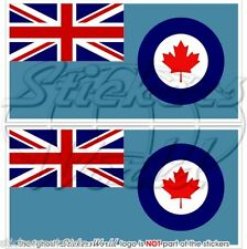 """CANADA Canadian AirForce RCAF Flag 75mm (3"""") Vinyl Bumper Stickers, Decals x2"""