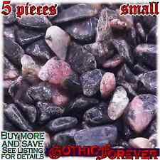 5 Small 10mm Combo Ship Tumbled Gem Stone Crystal Natural - Rhodonite