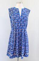 J Crew Blue Silk Vintage Scarf Print Paisley Floral Dress Size 6 Split Neck