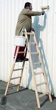Stehleiter Maler Bockleiter Holz 2x12 Sprossen L=3,46 m Eimerhaken