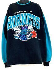 Vtg 1995 Charlotte Hornets Sweatshirt Black Teal Sportonics NBA Youth XL 16 18