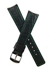 19/16mm BLACK/GREEN CROCODILE-STYLE LEATHER WATCH STRAP fit TAG Heuer 6000 GENTS