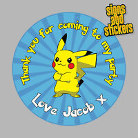 40 Personalised Childrens Party Stickers Pokemon Pikachu Blue