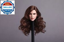 1/6 Female Head Sculpt Long Curly Brown Hair For Hot Toys Phicen Figure ❶USA❶