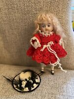 "Lovely Antique Darling 3.5"" All Bisque Doll French Mignonette Look Fancy Hat"