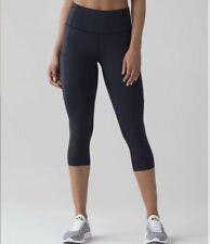 "Lululemon Leggings Fast and Free High Rise Crop 19"" In Navy Blue Size US6(UK10)"