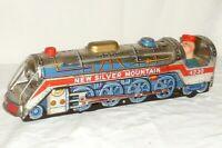 Old Big Sheet Metal Locomotive New Silver Mountain Railway Tin Toy 4230