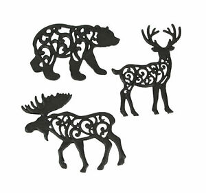 Set of 3 Cast Iron Lodge Design Wild Animal Kitchen Trivets Decorative Wall
