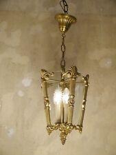 CLASSIC BRASS SHINY LANTERN CEILING LAMP 2 LIGHTS FIXTURES CHANDELIER