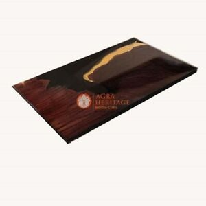 Dark Brown Dining Table Top Epoxy Semi Finished Acacia Furniture Restaurant Deco
