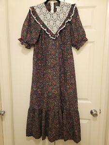 Liberty House Vintage Maxi Muumuu Floral & Lace Dress Prairie Hippie