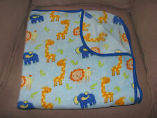 BABY BOY BLANKET BLUE ZOO JUNGLE ANIMALS LION ELEPHANT GIRAFFE PLUSH FLEECE