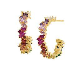 Arco iris de Circonio Cúbico Baguette Aro Pendientes en Plata Esterlina Chapado en Oro