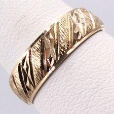 14K YELLOW GOLD DIAMOND CUT 6MM WEDDING BAND SIZE 8.75 I-11188
