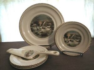Harker Currier & Ives Cake Plate, Cake Serving Plates and Server