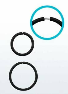 Black Seamless Continuous Sterling Silver 925 Nose Hoop Ring 18g (1mm) 8,10,12mm