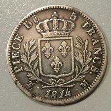 LOUIS XVIII BUSTE HABILLEE 5 FR 1814 M =TOULOUSE cote TTB 140SUP 600EURO