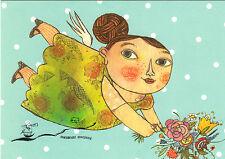 Kunstpostkarte - Selda Marlin Soganci:  Blumenengel