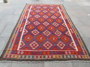 Vintage Kilim Traditional Hand Made Oriental Red Wool Large Kilim 310x200cm