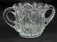 Tall Vintage Pressed Clear Glass Footed Sugar Bowl Double Handles Saw Tooth Edge