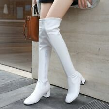 New Womens Square Toe Med Block Heels Over Knee Riding Boots Zip Shoes Plus Size
