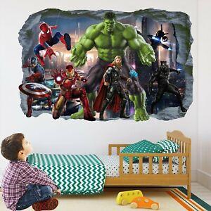 Avengers Superhero Wall Stickers Mural Decal Hulk Spiderman Iron Man Thor EA82