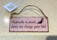 VERY SMALL CINDERELLA SHOES METAL SIGN HANGING PLAQUE ~ SHABBY CHIC