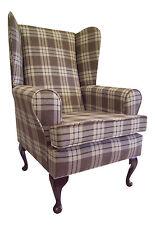 Wing Back Queen Anne Chair kintyre Chestnut Tartan Fabric