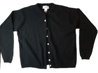 Pendleton Women's Black Lambs Wool Button Front Cardigan Sweater Size Large WOW!