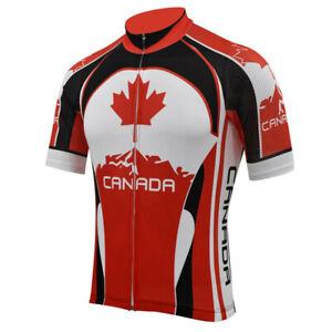 Mens Canada Flag  Cycling Jerseys Short Sleeve