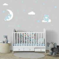 Baby Bear Moon Star Cloud Wall Sticker Bedroom Kids Boys Room Cartoon Wall Decal