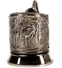 Russian Glass Holder Podstakannik Nickel Plated Made Russia Three Bogatyr Heroes