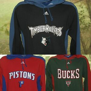 Adidas Detroit Pistons Milwaukee Bucks Timberwoles Hooded Sweatshirt S L Jersey