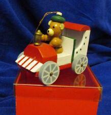Vintage Ebeling & Reuss Christmas Ornament / Bear in Car