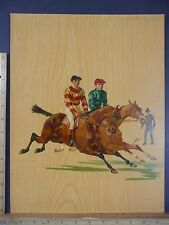 Rare Antique Original VTG 1900 Jockeys On Horses Equestrian Litho Art Print