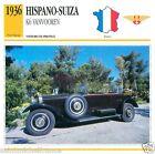 HISPANO-SUIZA K6 VANVOOREN 1936 CAR VOITURE FRANCE CARTE CARD FICHE