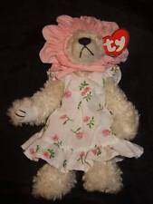 "Ty ~ 8"" white plush jointed bear w/ floral dress pink hat - 1993 Attic treasure"