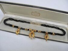 9ct GOLD Plated Black Beads Simulated Garnet Jet Indian Necklace Jewellery 16.2g