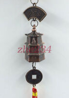 Hot sales BRASS DRAGON BELL KEY CHAIN Ring Temple Feng Shui Wind chimes@