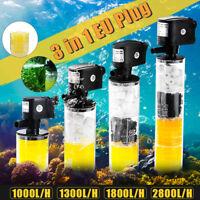 3in1 Submersible Aquarium Internal Pump and Filter for Fish Tank 1000-2800L/H